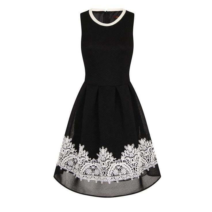 SKYLINE LACE TRIM DRESS - BLACK