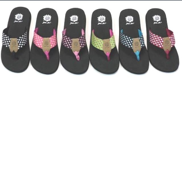 Yellow Box flip-flops! Love these!
