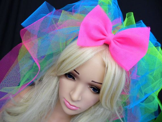 80s Madonna Inspired Neon Veil Bachelorette Party by tutufactory