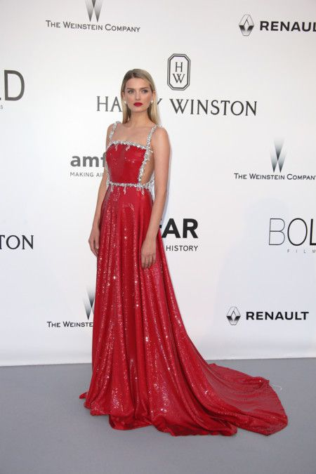 Lily Donaldson in Miu Miu sparkles all the way