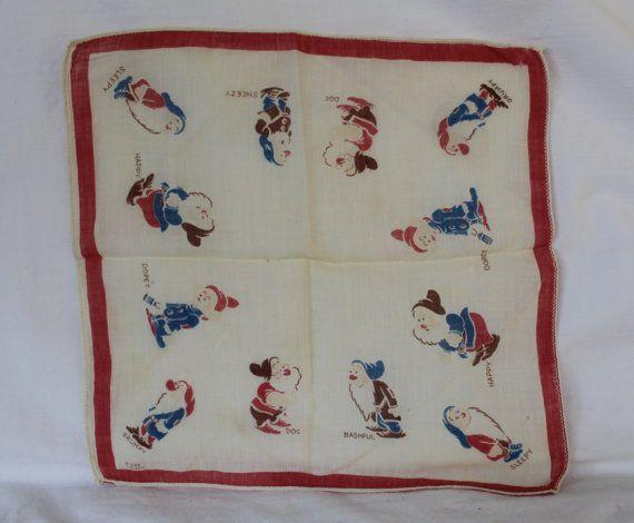 Walt Disney 7 Dwarf hankie Seven Dwarfs Handkerchief Snow