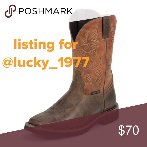 "Justin Men's Workboots WK4812 for @lucky_1977 Listing for @lucky_1977, Price is Firm, JUSTIN Work Boots WK4812 MEN'S RUGGED TAN STAMPEDE COMPOSITION TOE WORK BOOTS (All sizes are ""D"" width) 11 inch tall Men's square toe work boot, with a composition toe that exceeds ASTM F2413-11, 175, C75 safety standards and has J-Flex Flexible Comfort System® insoles. Justin Boots Shoes Boots"
