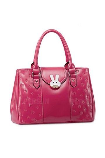Cartoon Rabbit Series Buckled Handbag In Irish Red