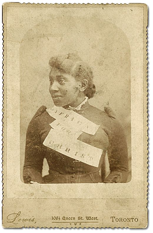 """Mary Branton with banner """"Africa for Christ"""", taken in Toronto, [ca. 1890s] Alvin D. McCurdy fonds  Reference Code: F 2076-16-3-2 Archives of Ontario, I0027793"""
