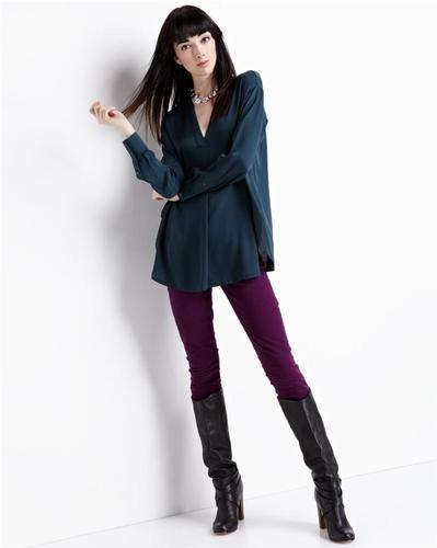 Vince Pleat Front Petroleum Blouse Top  Green In Stores 2013