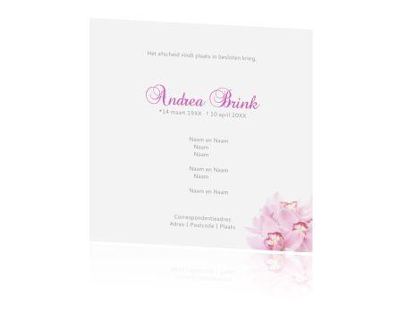 Persoonlijke rouwkaart, orchidee toevoegen naar keuze, of met andere bloem, sierlijk lettertype. >>> Bij alle ontwerpen kunt u (eigen) foto's toevoegen, kleuren en lettertypen aanpassen, tekstblokjes en clipart toevoegen