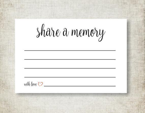 Share A Memory Card Memory Cards Share A Memory Printable Memorial Card Keepsake Funeral Memory Card Pdf Instant Download Memorial Cards For Funeral Memory Cards Memorial Cards
