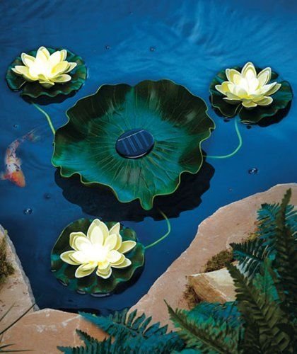 Solar Floating Lighted Lilly Pad 4 Pc By Abc Polypropylene And Eva Central Lily Pad
