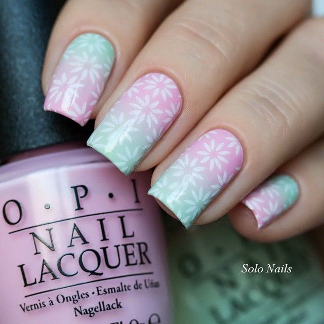 Pretty spring pink and blue gradient with white stamping