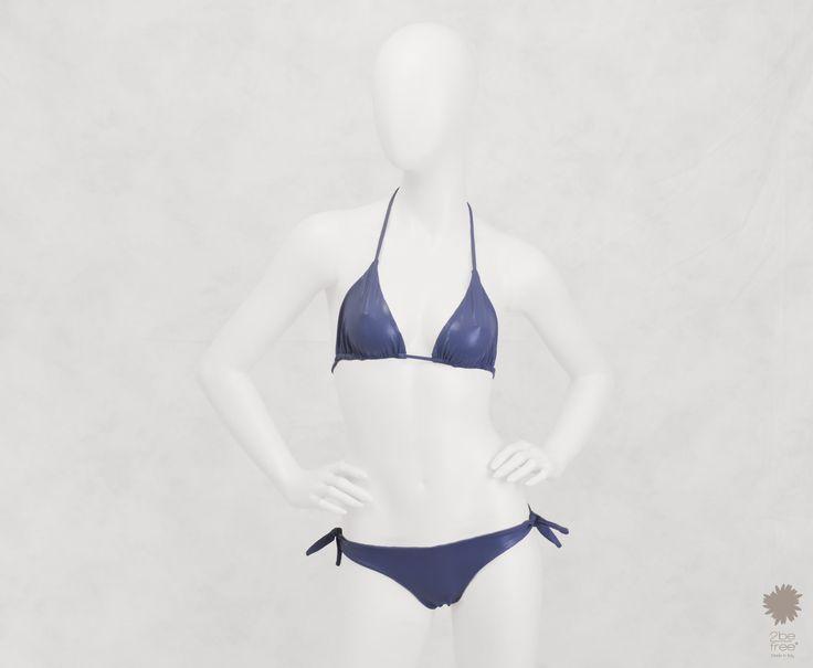 Reptilia London Bikini Beachwear -  Triangle bikini top reptile laminate reversible solid color. Bikini bottom with bows.