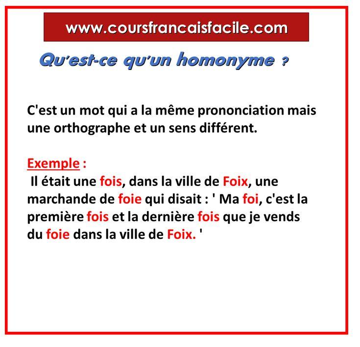 Qu'est-ce qu'un homonyme ? | Apprendre le français ...
