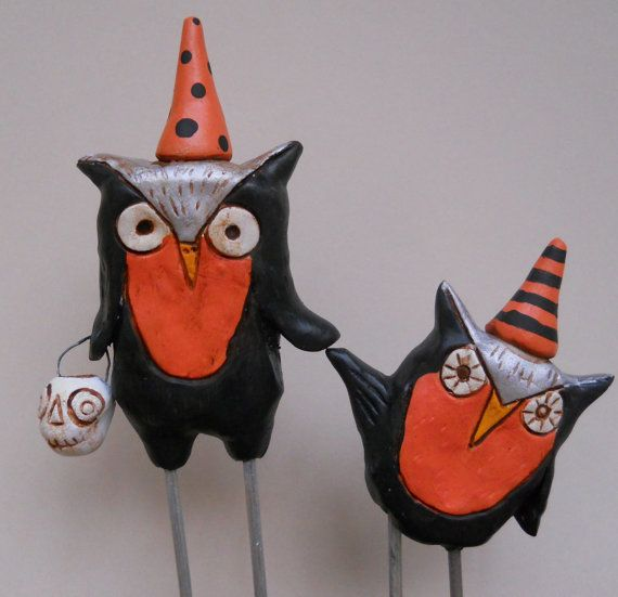 Halloween Owls with party hat clay folk art by indigotwin on Etsy, $45.00