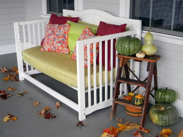 6 baby crib repurposed front porch daybed http://hative.com/creative-old-crib-repurpose-ideas/