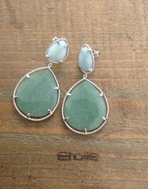 Orecchini in argento con pietre naturali color Tiffany