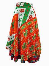 Easy Breezy Silk Sari Wrap Skirt Orange Green