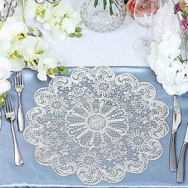 6 White 15 In Wide Romantic Floral Lace Round Vinyl Placemats Doilies Create The Perfect Mood For Every Dining Table Placemats Lace Placemats White Placemats