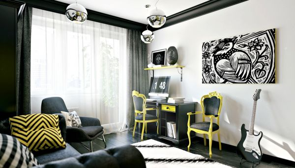 The first room from visualizer Pavel Vetrov uses contrasting colors to bring an exciting energy to the bedroom. The black and yellow contrast is immediately eye popping and mood elevating. The study area and sofa make this an ideal office for a creative teen, giving plenty of space to relax but also space to focus.