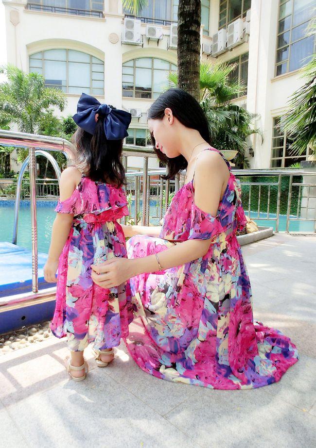 New 2016 Mom and Daughter Dress com Belt Longo Estilo Verão Maxi férias Vestidos praia da família vestido de chiffon Girls & Women Dress
