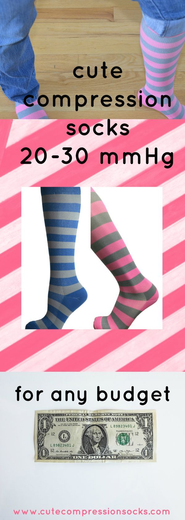 Compression socks weren't always a fashion statement - they're usually extra support for POTS, RA, maternity, or nurses. But now, cute compression stockings 20-30 mmHg are also fun and comfortable to wear. #fashion #socks #compressionsocks