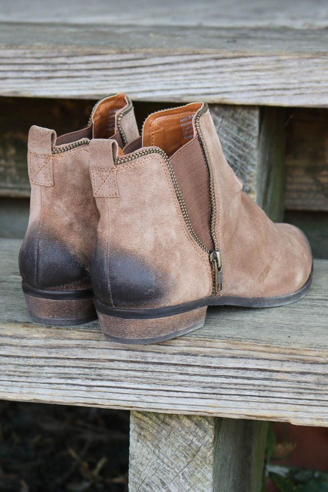El Paso Tan Distressed Suede Ankle Boots With Zipper Detail