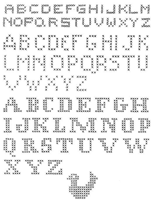 des alphabets au point de croix pour tous vos projets... ces alphabets - et tous les motifs pour point compté - sont en fait des grilles, qui peuvent être utilisées avec différentes techniques ou éléments... vous pouvez, par exemple, recréer ces motifs en strass, une pierre prenant la place de chaque croix, ou en utilisant de la même façon des brads, des œillets, des perles Hama...