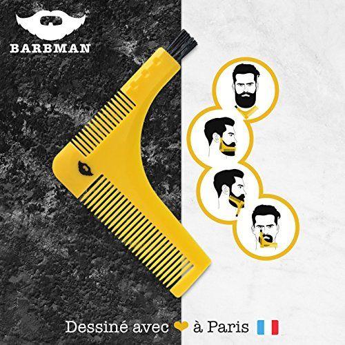 BARBMAN : Double peigne à barbe pour un rasage précis des contours, avec brossette de nettoyage pour rasoir, cadeau idéal pour hipster barbu #BARBMAN #Double #peigne #barbe #pour #rasage #précis #contours, #avec #brossette #nettoyage #rasoir, #cadeau #idéal #hipster #barbu