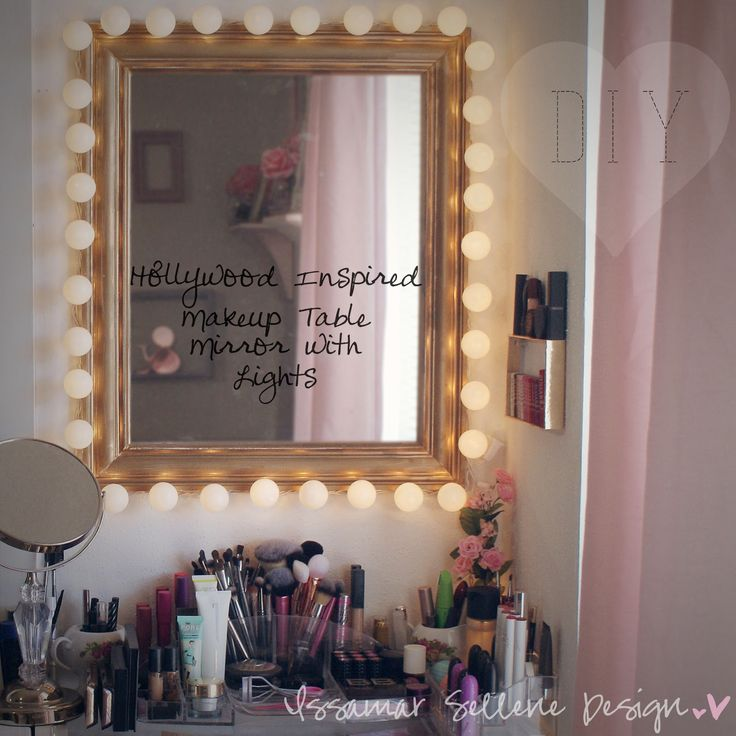 DIY: Hollywood Inspired Makeup Table Mirror Lights - Make your own vanity mirror, it's so easy and inexpensive to do. Use a framed mirror, ping pong balls and string lights.