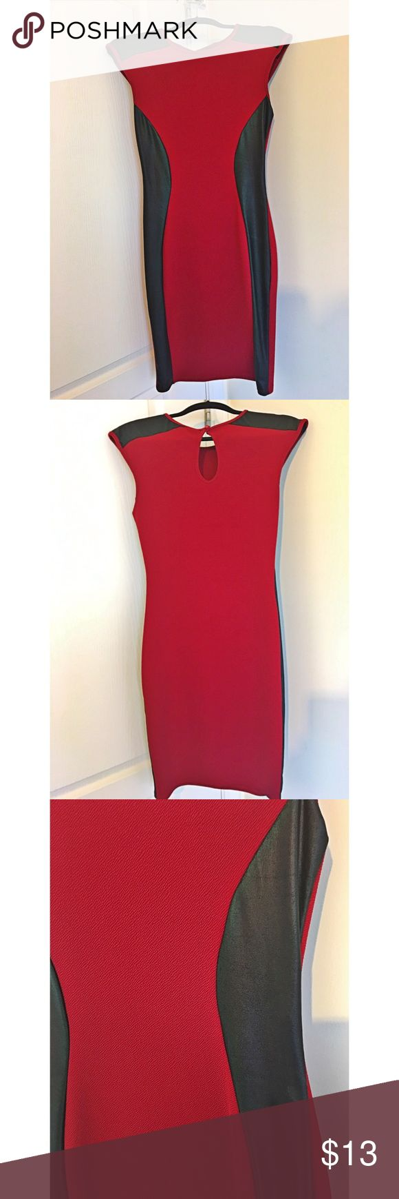 Red midi dress with leatherette detail Red midi dress with leatherette detail. No stains, no holes, no damage. This dress hugs your curves and looks great on especially paired with a stylish blazer. interi Dresses Midi