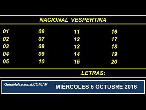 Quiniela - El Video oficial de la Quiniela Vespertina Nacional del día Miercoles 5 de Octubre de 2016. Info: www.quinielanacional.com.ar