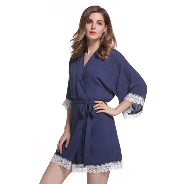 Short Cotton Robe With Lace   Fashideas.com