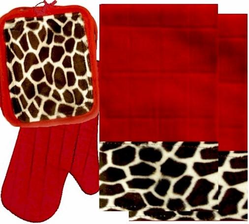 AnythingAnimals.com  Animals Bordering Africa Animal Print Kitchen Linen Set Red/Giraffe $35