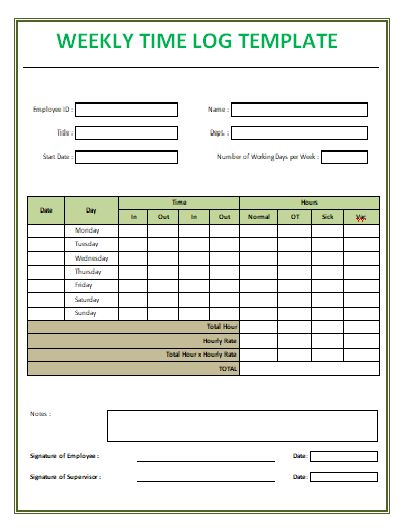 Weekly Time Log Template logtemplate Pinterest - logic model template