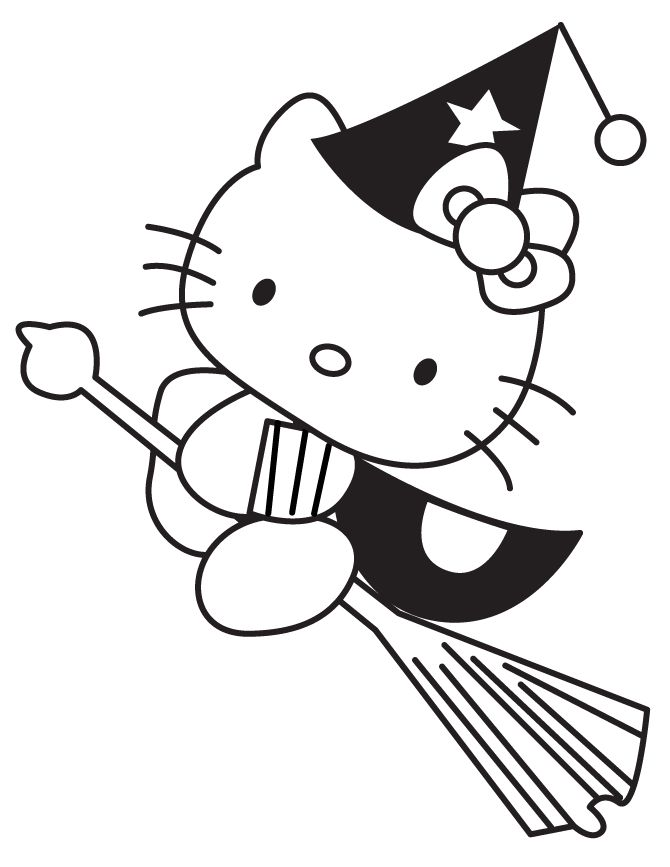 Witch Halloween Coloring Pages Hello Kitty