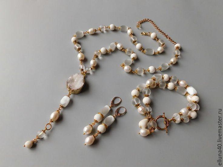 Купить Сотуар из жемчуга,коралла.горного хрусталя - белый, сотуар, сотуар из камней, сотуар из жемчуга