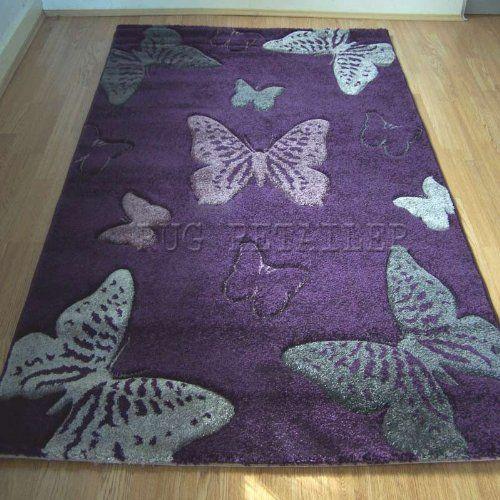 Select Wilton Teppich, lila/grau, Schmetterlinge, modern, 120 x 170 cm