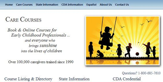 A site where you can take early childhood education courses. Always check your state licensing info to see if courses from this site are accepted.