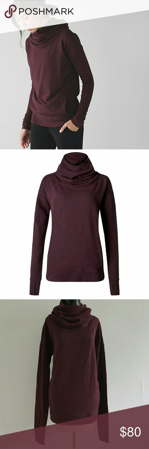 LULULEMON ATHLETICA less stress cowl neck hoodie Beautiful stress less cowl neck hoodie in heathered bordeaux drama.  Extra long sleeves with thumb holes.  In EUC, no flaws to disclose. lululemon athletica Tops Sweatshirts & Hoodies