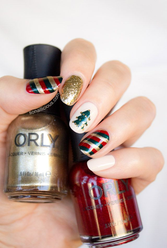 Red and Green Christmas nails tutorial. #christmasnails #christmasnailart