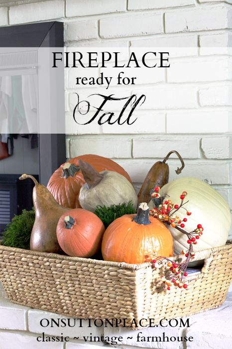 Fall Mantel and Fireplace Inspiration. Includes ideas for decorating around a large TV! #fireplace #mantel #falldecor #fallmantel