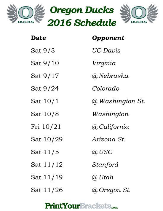 Printable Oregon Ducks Football Schedule 2016