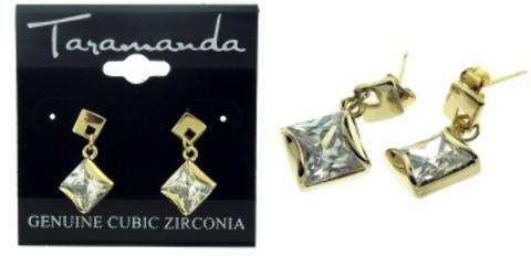 Wholesale Diamond Shape Gold Tone CZ Dangle Earrings (Case of 12)