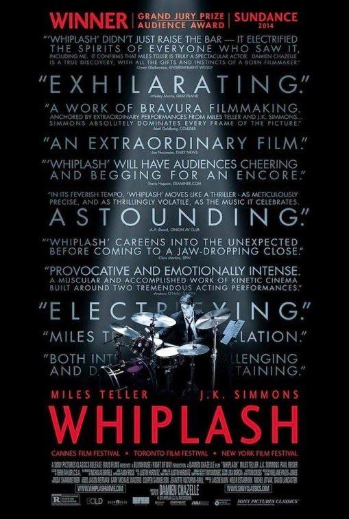 Whiplash (Whiplash: Música y obsesión) (2014). Brillante película sobre obsesiones, locura, y una fuerza inquebrantable para lograr los sueños de un nobel músico de jazz en su batalla con su director de orquesta.