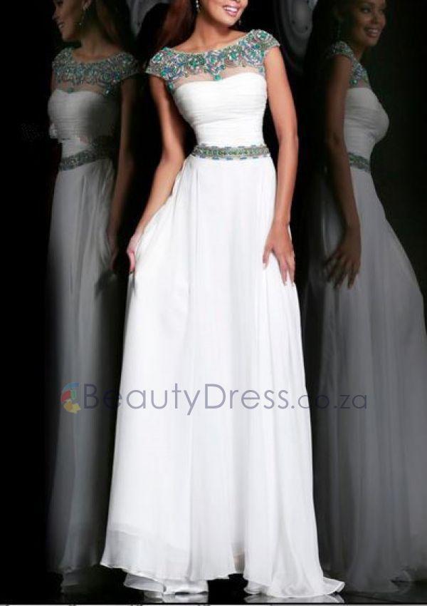 Cap Sleeve Floor-length A-line Beading White Backless Scoop Dresses - 1640671 - Prom Dresses