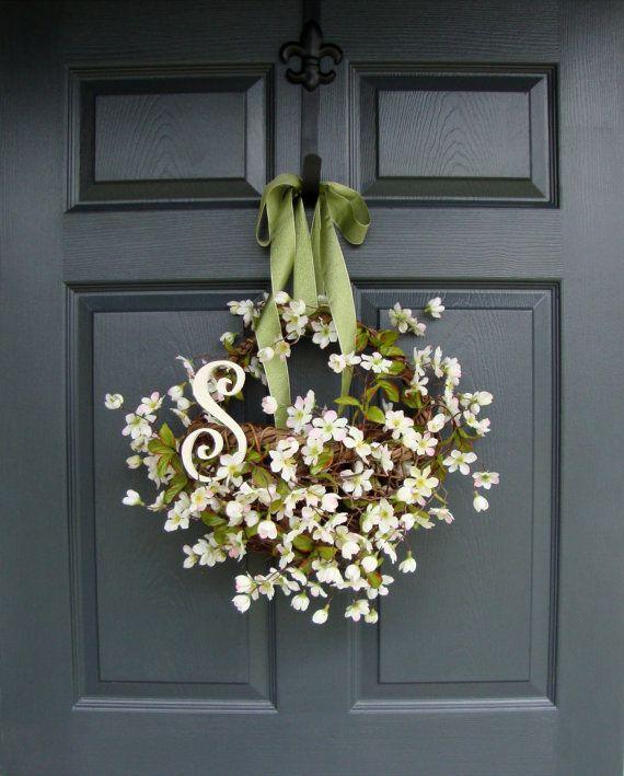 Apple Blossom Floral Basket Mothers Day Floral Gift Basket Wicker Spring Door Decor Summer