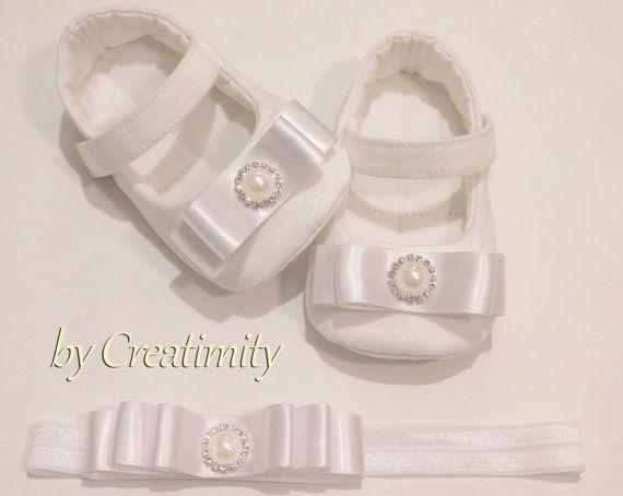 White christening baby shoesbaby baptism by CreatimityElegance