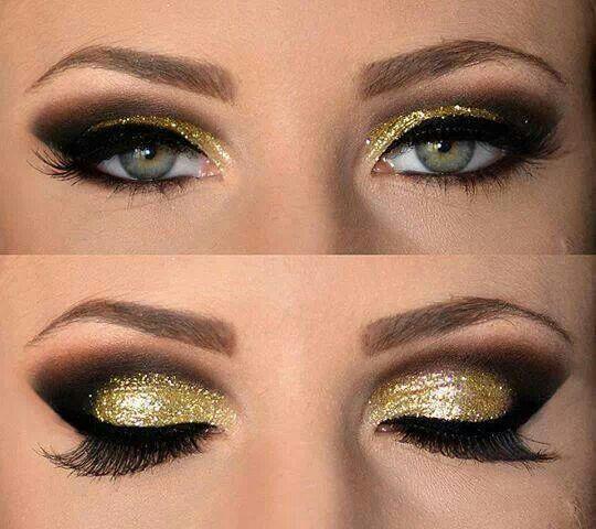Gold glitter eyeshadow Hair and Makeup Pinterest Black ...
