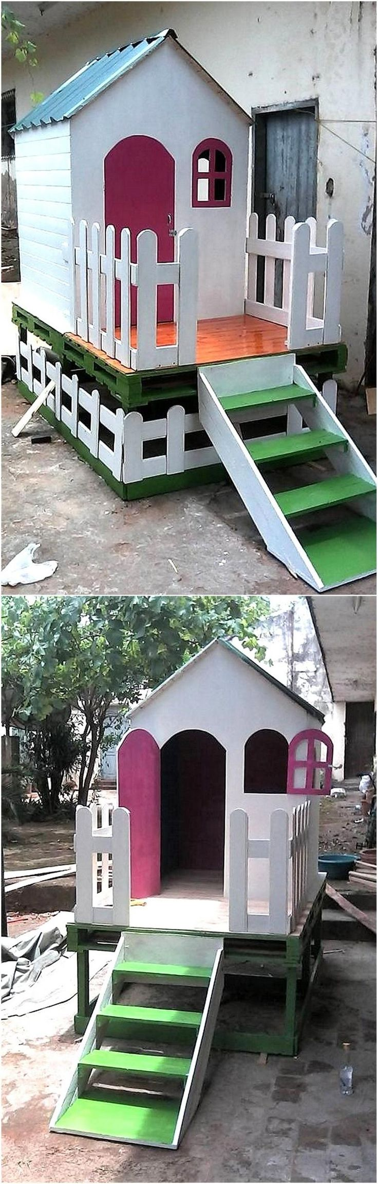 We never forget the kids when we start collecting the images of the items created with the pallets, so here we are with the idea for kid's playhouse. It is a different idea because it contains the stairs, making it look like a real house.
