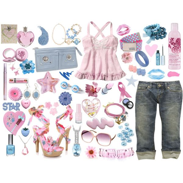 pink and blue, created by mzlorraine.polyvore.com