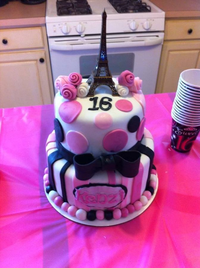 Sweet 16 paris themed cake with stripes polka dots roses for Dots and stripes party theme