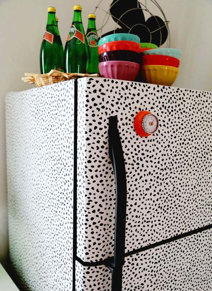 Wallpaper fridge diy